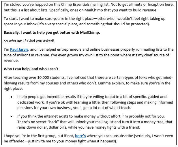 Paul Jarvis - Beispiel Über mich Mail