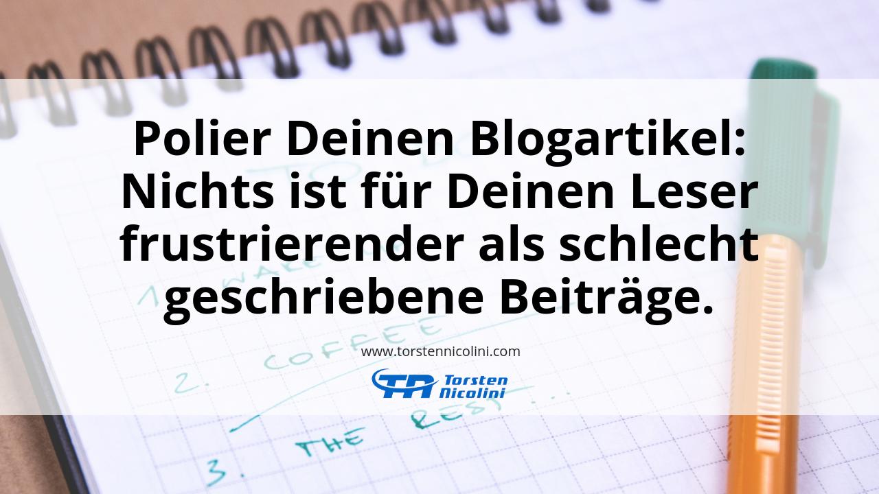 Polier Deinen Blogartikel.