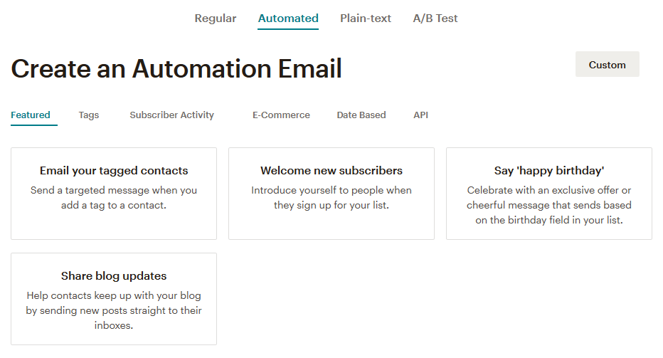 MailChimp - E-Mail Automation erstellen