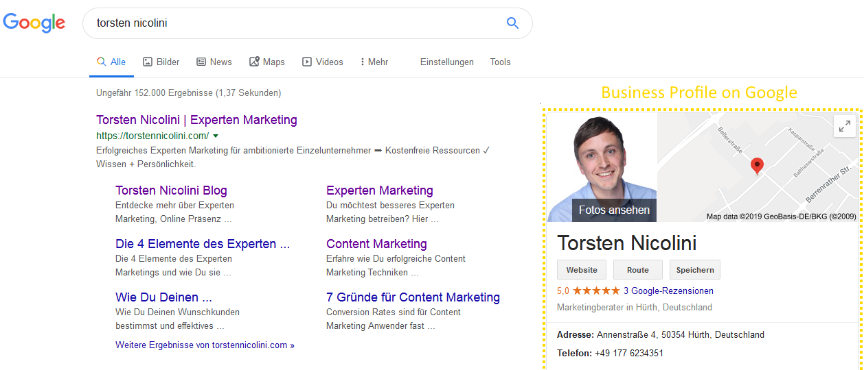 Business Profile on Google - Torsten Nicolini