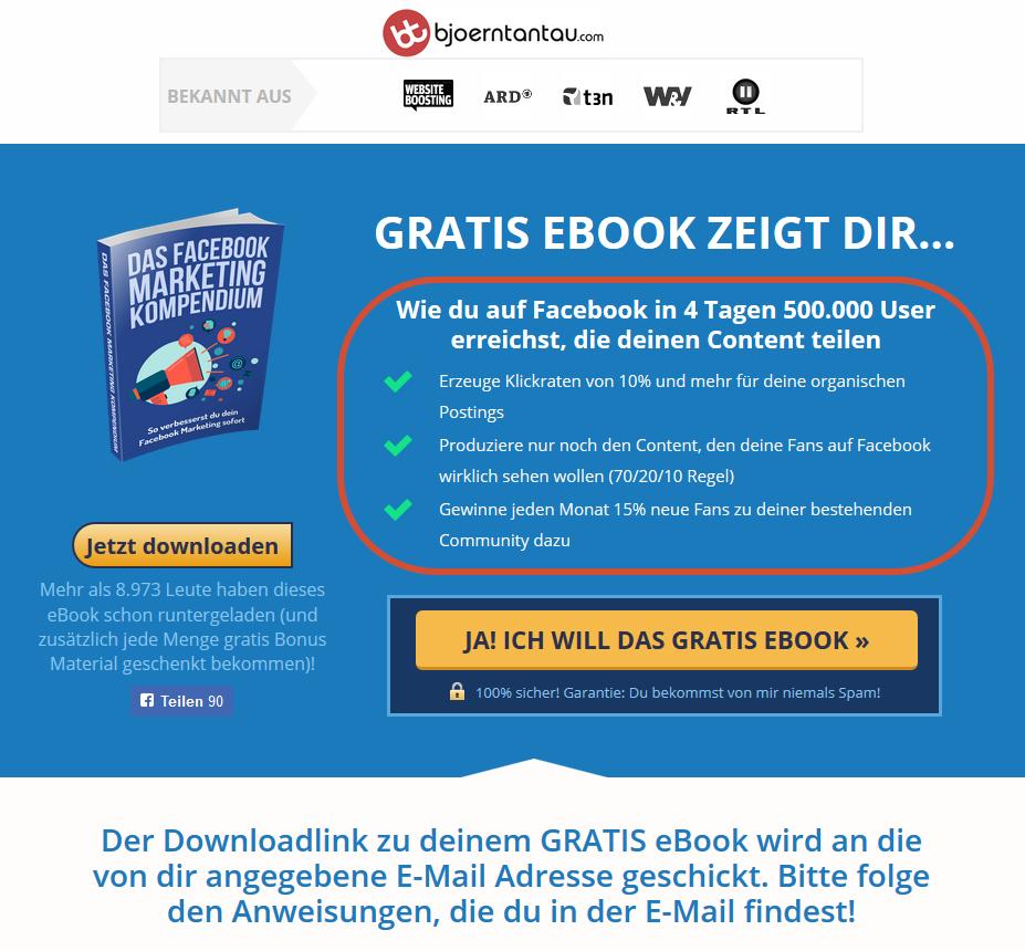 Landing Page eBook - Beispiel