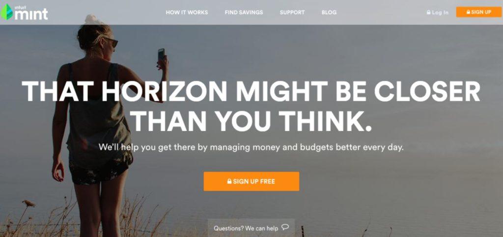 Website-Beispiel Startseite von Mint